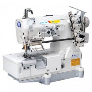 Jack JK-8569ADI-05BB пятиниточная плоскошовная машина с приспособлением для втачивания резинки и подрезкой края материала