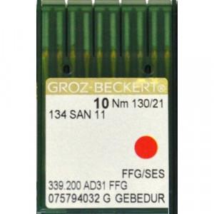 Игла Groz-Beckert 134 SAN 11 FFG GEBEDUR с толстой колбой и позолотой для трикотажа 10 шт/уп