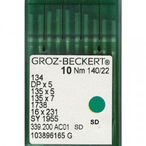 Игла Groz-Beckert 134, DPx5, 135x5, 135x7 SD с толстой колбой для мягкой кожи 10 шт/уп